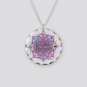 Crohns-Disease-Lotus Necklace Circle Charm