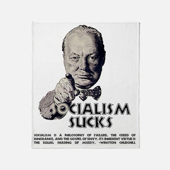 Churchill Socialism Sucks darks grey Throw Blanket