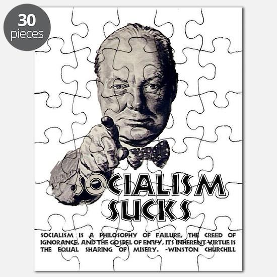 Churchill Socialism Sucks darks grey Puzzle