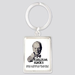 Churchill Socialism Sucks darks  Portrait Keychain