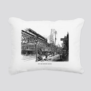 ny el train Rectangular Canvas Pillow