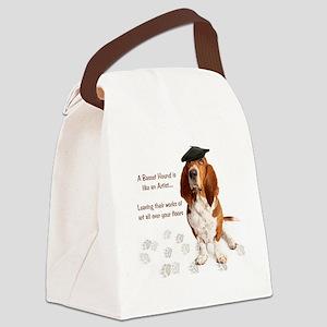Basset Hound Artist Canvas Lunch Bag