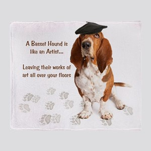 Basset Hound Artist Throw Blanket