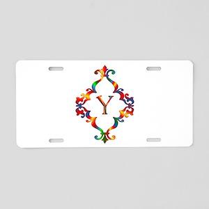 Colorful Letter Y Monogram Aluminum License Plate