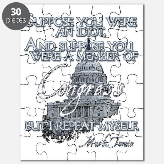 Mark Twain Idiot in Congress lights Puzzle