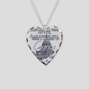 Mark Twain Idiot in Congress  Necklace Heart Charm