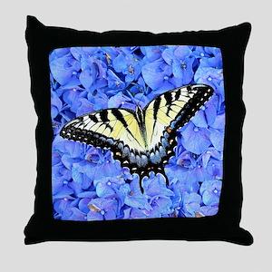 Yellow Swallowtail Butterfly, Blue Fl Throw Pillow