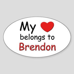My heart belongs to brendon Oval Sticker