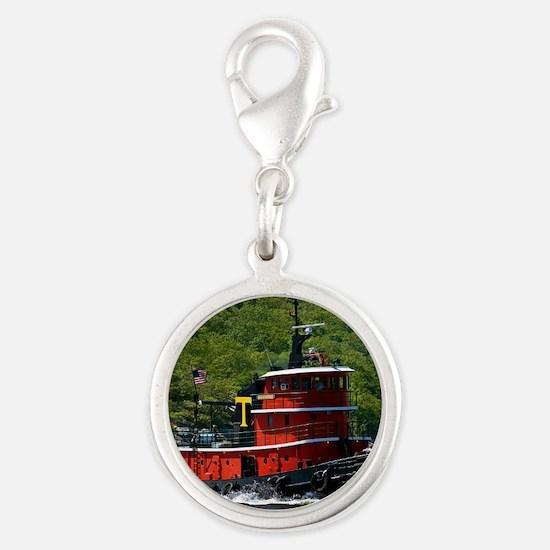 (15) sub tug Silver Round Charm