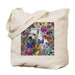 Violet White Westie Butterflies Tote Bag