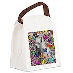 Violet White Westie Butterflies Canvas Lunch Bag