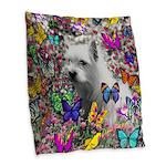 Violet Westie Buterflies Burlap Throw Pillow