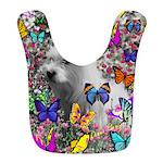 Violet White Westie Butterflies Bib