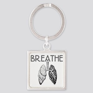 BREATHE lungs Square Keychain