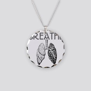 BREATHE lungs Necklace Circle Charm