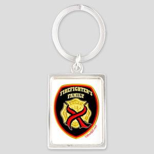 Cross red line-firefighters fami Portrait Keychain