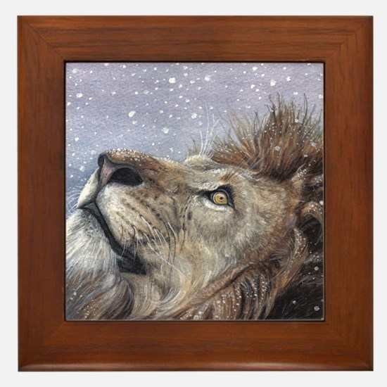 xmas_lion_HUGE Framed Tile