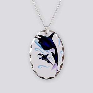 Mom and Baby Trans Necklace Oval Charm