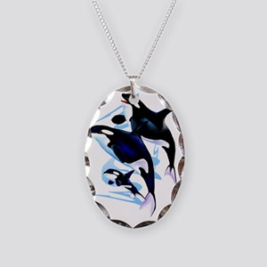 Orca Family Trans Necklace Oval Charm