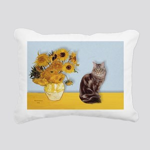 Sunflowers - Maine Coon  Rectangular Canvas Pillow