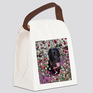 Abby Black Lab in Flowers Canvas Lunch Bag