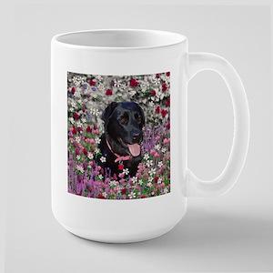 Abby Black Lab in Flowers Large Mug
