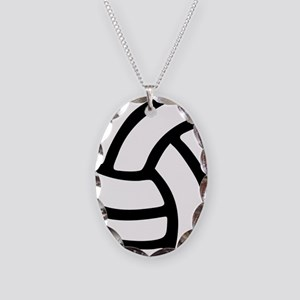 volleyball_birdview2 Necklace Oval Charm
