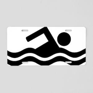 swim_black Aluminum License Plate