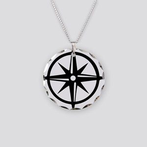 compass Necklace Circle Charm