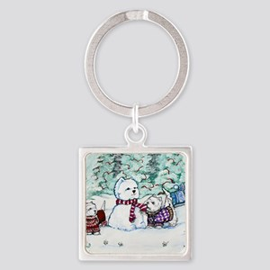 Christmas Card NEW 4.5 5.75 Square Keychain