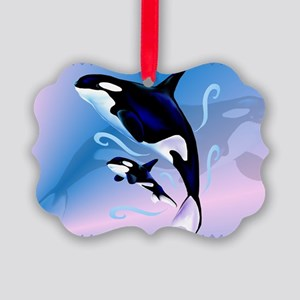 Orca Mom and Baby-Yardsign Picture Ornament