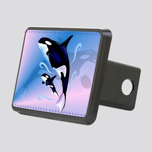 Orca Mom and Baby-Yardsign Rectangular Hitch Cover