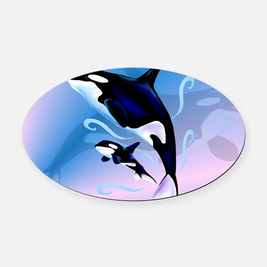 Orca Mom and Baby-Yardsign Oval Car Magnet