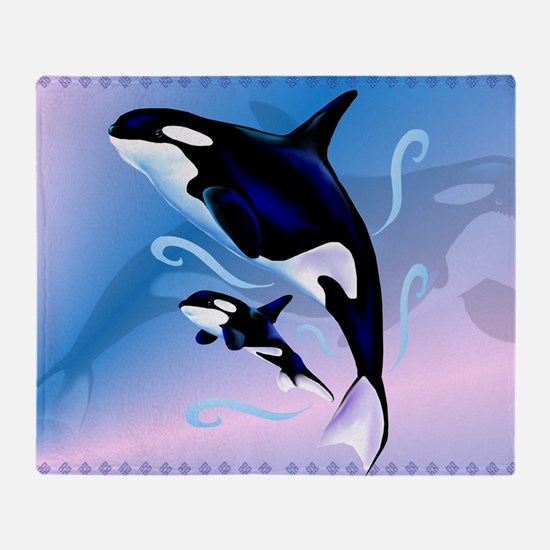 Orca Mom and Baby-Yardsign Throw Blanket