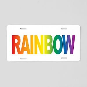 LGBTQIA-THINK-Rainbow-blk Aluminum License Plate