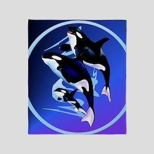 2-Orca Family-circle Throw Blanket