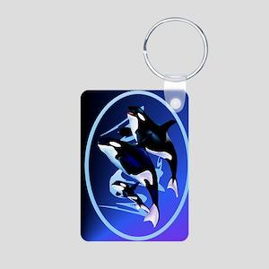 Orca Family-oval ornament Aluminum Photo Keychain