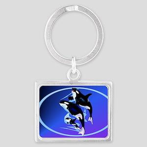 Orca Family-oval_sticker Landscape Keychain