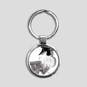 HairRollersWaterSprayer060910shadow Round Keychain