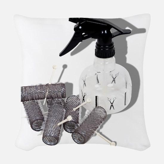 HairRollersWaterSprayer060910s Woven Throw Pillow