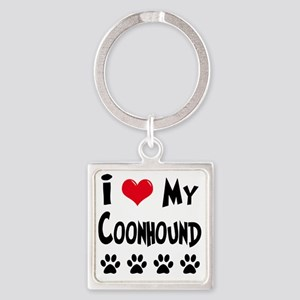 I-Love-My-Coonhound Square Keychain
