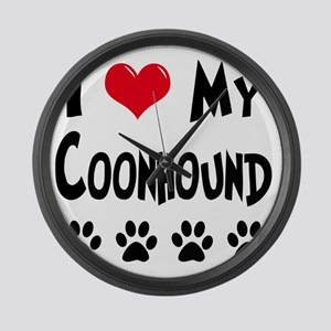 I-Love-My-Coonhound Large Wall Clock