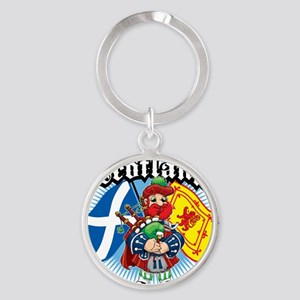 Scotland-Flags-and-Piper Round Keychain