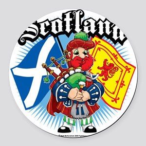 Scotland-Flags-and-Piper Round Car Magnet