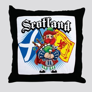 Scotland-Flags-and-Piper Throw Pillow