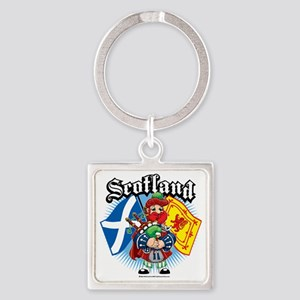 Scotland-Flags-and-Piper Square Keychain