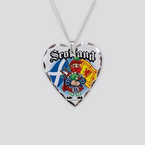 Scotland-Flags-and-Piper Necklace Heart Charm