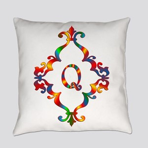 Colorful Letter Q Monogram Initial Everyday Pillow