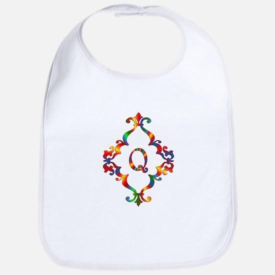 Colorful Letter Q Monogram Initial Cotton Baby Bib