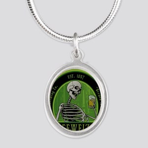Beer_label_Skeleton Silver Oval Necklace